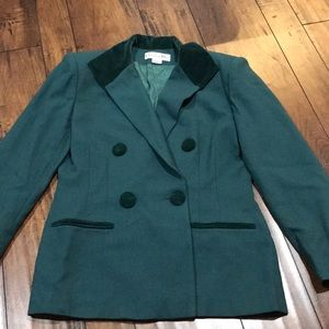 Vintage Christian Dior Green Wool Blazer